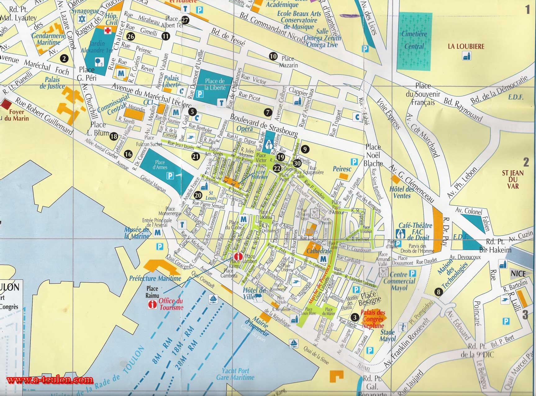 Toulon Plan Detaille De La Ville